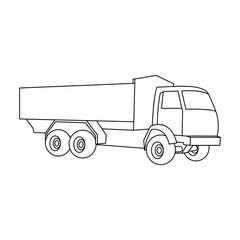 Pickup rural truck. Tow auto. Truck with orange body for the transport of agricultural crops.Agricultural Machinery single icon in outline style vector symbol stock illustration.