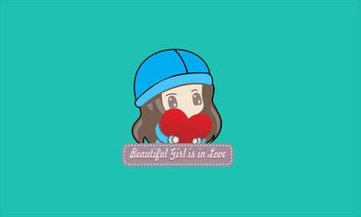 cartoon beatiful girl is in love