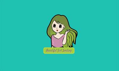 cartoon beatiful girl smiling