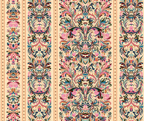 Striped seamless pattern on baroque style. Seamless floral wallpaper. Damask background. Vector illustration. Pastel pink blue on biege background.