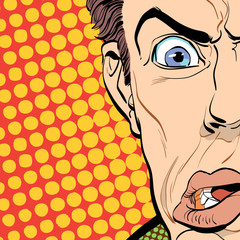 Portrait of scared man. Scared businessman. Surprised man. Pop art retro style illustration. People in retro style. Halftone background. Man's face.