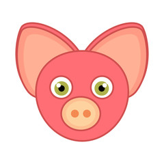 Cartoon Pig Face Icon and outline isolated on white background..