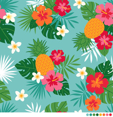 Pineapple, hibiscus, frangipani and leaf seamless pattern vector