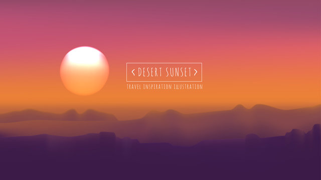Desert sunset vector illustration