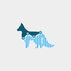 wolf finance logo. animal logo with statistic concept