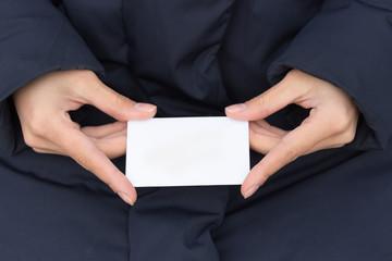 Credit card in female hands beautiful