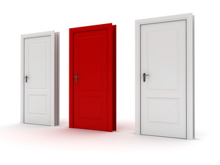 Doors. One red, two white