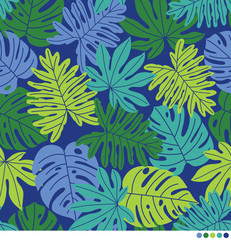 Tropical leaves vector pattern.