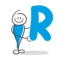 Stick Figure Series Blue / Alphabet R