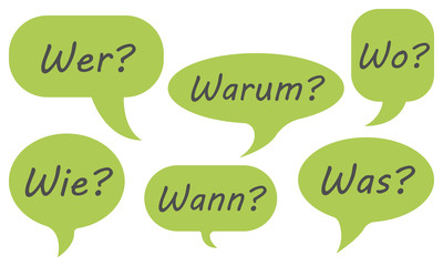 Sprechblasen mit den W-Fragen (in Grün)
