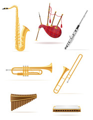 wind musical instruments set icons stock vector illustration