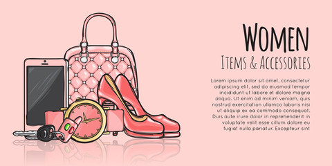 Women Items and Accessories Fashionable Web Banner