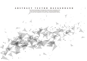 Abstract Polygonal Space Gray Background with Connecting Dots and Lines