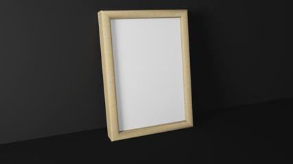 Blank wood picture frame in dark interior. 3d rendering.