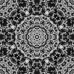Stylized flowers oriental wallpaper retro seamless abstract background vector, decoration tile print oriental tribal floral ornament, arabesque floral pattern tile. Black and white, One color print