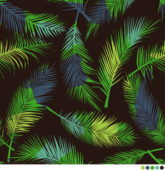 Color brushed palm leaf pattern background