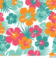 Colorful hibiscus and tropical leaf pattern vector background