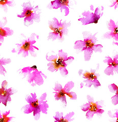 Watercolor pattern with pink flowers on white background. Seamless floral background. Hand painted illustration.