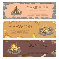 Campfire Firewood and Bonfire Colorful Poster