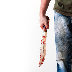 Big knife with blood in hand of bad person. Criminal scene background with killer or murder person