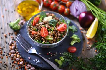 Lentil salad with veggies, healthy food, vegetarian and vegan snack, clean eating, diet