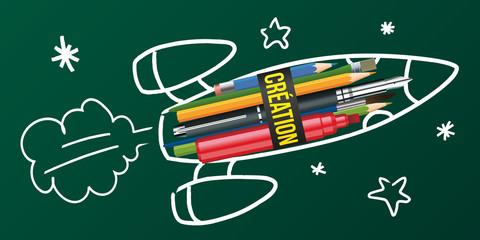 Création -  Fusée - Imagination - Concept - Idée -  écriture - crayon - Invention