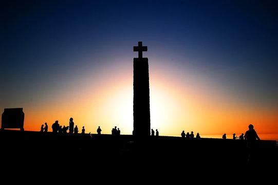 Cabo da Roca monument at sunset