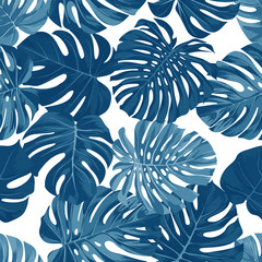 Vector seamless pattern with monstera palm leaves on dark background. Summer tropical fabric design.