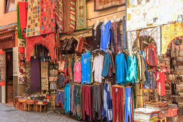 Facade of a Arabian carpets and clothing store and other souvenirs