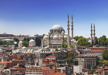 View of Istanbul and the mosque of Sulaymaniyah, Istanbul, Turkey
