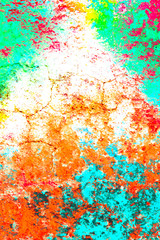 Grunge color wall background texture in rainbow style