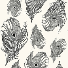 Seamless abstract pattern with feathers of peacock.