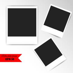 Vintage white photo frames set. Vector illustration.