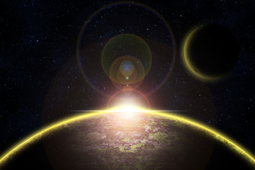 Abstract planet with sunrise effect and glow