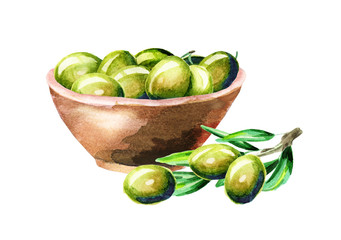 Bowl with olives. Watercolor