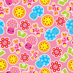 Spring seamless pattern with cute butterfly, mushroom, and flower cartoon on pink background suitable for kid wallpaper, scrap paper, and postcard