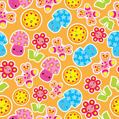 Spring seamless pattern with cute butterfly, mushroom, and flower cartoon on orange background suitable for kid wallpaper, scrap paper, and postcard