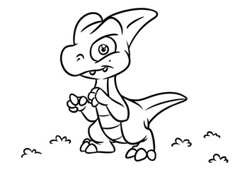 Dinosaur coloring page cartoon Illustrations isolated image animal character
