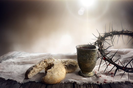 Communion And Passion - Unleavened Bread Chalice Of Wine And Crown Of Thorns