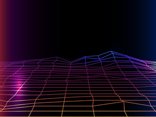 synth pop light grid background. Vector Retro background 80s.