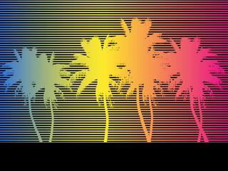 colorful background, palm strips. vector illustration. retro style