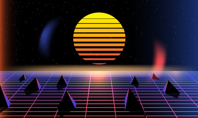 Sun, bright,  synth pop light grid background. Vector Retro background 80s. synth pop