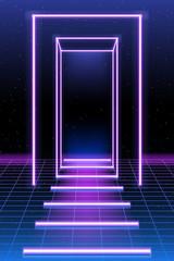 podium. neon. Retro style 80 s