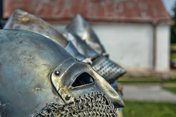 Antique metallic medieval armor Helmet detail