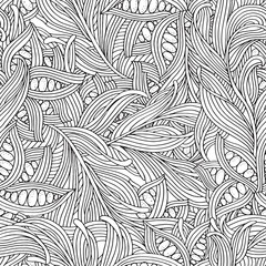 Seamless pattern for adult coloring book. Floral doodle.  Ethnic, floral, retro, doodle, vector, tribal design element. Zentangle style. Black and white  background.