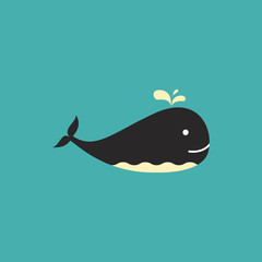 Vector illustration of whale on a blue background.