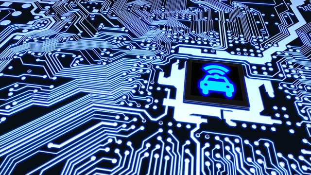 Smart car circuit board wifi chip connected vehicle concept