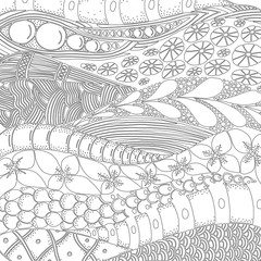 artistically ethnic pattern. Vector.  Hand-drawn, ethnic, floral, retro, doodle, zentangle, tribal design element. Adult coloring book page. Black and white.