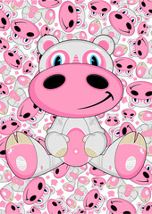 Cute Cartoon Hippo Character