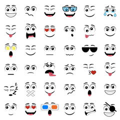 Abstract flat style emoticon icon set.